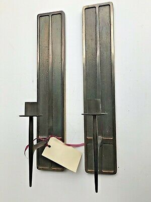Pair Art Deco MODERN Wall Candleholders Sconces Candelabras