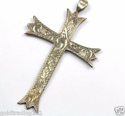 Vintage Christian Floral Etching Cross Pendant 925 Sterling 2 In Pd 363