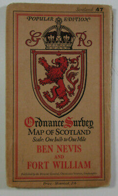 1928 OS Ordnance Survey Popular Edition One-Inch Map 47 Ben Nevis & Fort William