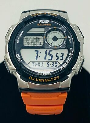 Casio AE1000W-4BV Mens Orange Resin Band 5 Alarms Chronograph World Time Watch