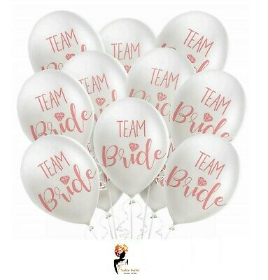 12 x TEAM BRIDE BALLOONS Hen Party To Be Pink Printed Latex Decoration Pack