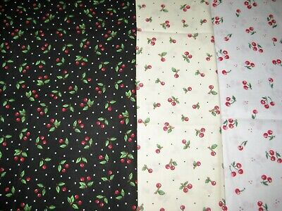 3 FAT QUARTERS Calico cherry on black cream white background quilter FABRIC OOP