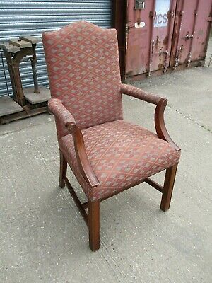 Single George III Style Gainsborough Armchair Carver Solid Georgian Upholstered