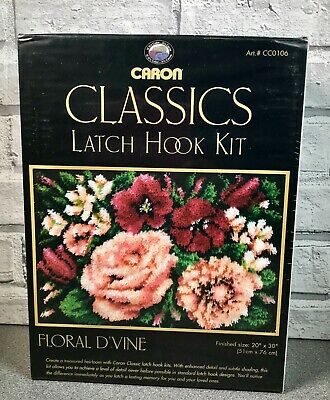 "Caron Classics Latch Hook Rug Canvas Kit ""Floral D'vine"" 20"" X 30"""