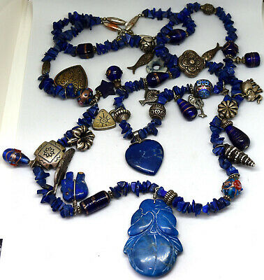 """Vintage Chinese Natural Lapis Lazuli, Glass and Brass Beads Necklace 28"""" Long"""