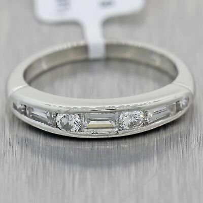 1930's Antique Art Deco Baguette & Round Cut Diamond Platinum Wedding Band