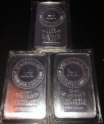 Royal Canadian Mint 10 Ounce Silver Bar - Lot Of 3