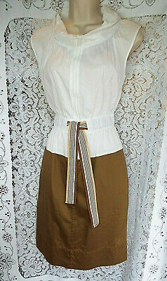HOSS INTROPIA Cotton Belted Dress with Zipper Detail Taupe & White  UK size 8/10