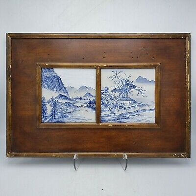 Vintage Asian Japanese Chinese Painted Porcelain Double Plaque in Wooden Frame