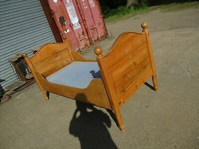 A Wooden Pine Single Bed Frame Headboard Sleigh Antique Style Solid Shabby Chic