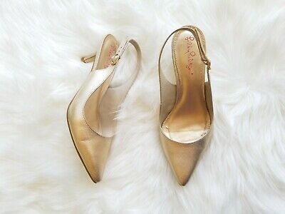 8f8a0393cf Lilly Pulitzer Slingback Heels size 7 Gold Metallic Leather Pointed Toe  Pumps