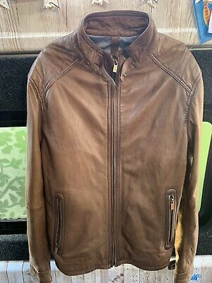 a247216f4 GENUINE MEN'S BROWN Massimo Dutti Soft leather jacket size Large (40)