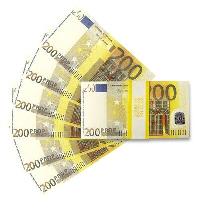 100x 200 Notes Realistic Spain France Movie Prop Money Euros Euro Prank Gift
