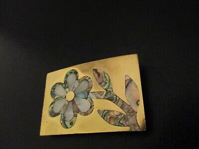 Vintage Brass Belt Buckle Mother Of Pearl Flower Inlay Abalone Art 1970's