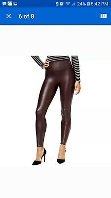 61456cb6ba1cb Spanx Women's Faux Leather Tummy Control Leggings M Medium - Wine Free Fast  Ship