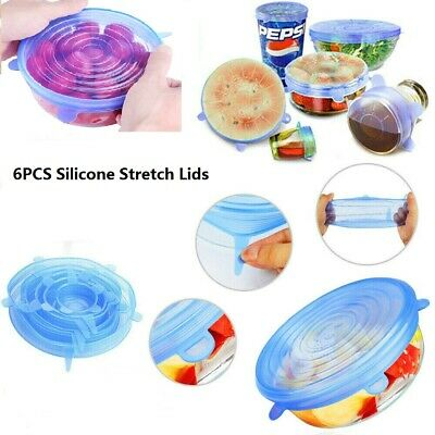 6 X Super Stretch Lids Silicone Covers Universal Food Covers Lids Easy  Fit L0G5
