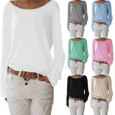 Women Casual Long Sleeve T-Shirt  Crew Neck Loose Baggy Jumper Pullover Top Tee