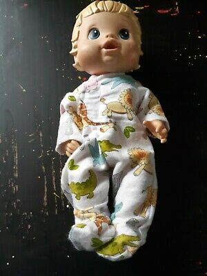 Homemade Little Baby Alive (33cm Doll) White With Zoo Animals Coverall Pyjamas