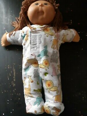 Homemade Cabbage Patch Doll White with Zoo Animals Coverall Pyjamas