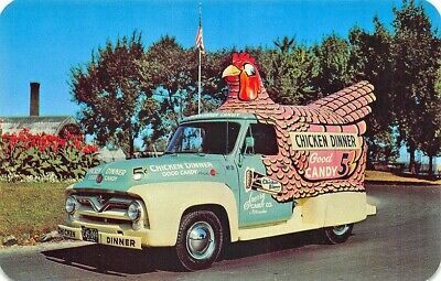 Milwaukee WI Sperry's Famous 5¢ Chicken Candy Shaped Wagon Postcard