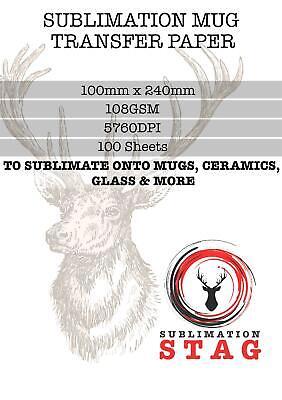 Sublimation Mug Transfer Paper 100 x Quality For Heat Press Transfer -108gsm