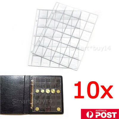 10pcs 30 Pockets Coin Holders Folder Pages Sheets For Collection Album Storage K