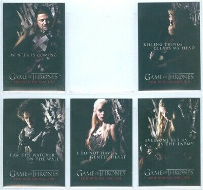 """You Win Or You Die Complete Set Sp1-Sp5"" Game Of Thrones Season 1 Daenerys"