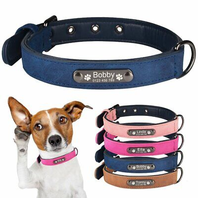 Soft Padded Leather Personalized Dog Collar Engraved Name ID for Small Large Pet