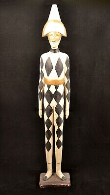 Vintage 30 Inch Black White Carved Wood Standing Harlequin Figure Statue (2545IS