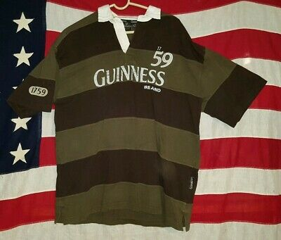 0f90d15b5c6 GUINNESS GREEN RUGBY JERSEY POLO SHIRT BEER 1759 IRELAND XL extra large  striped