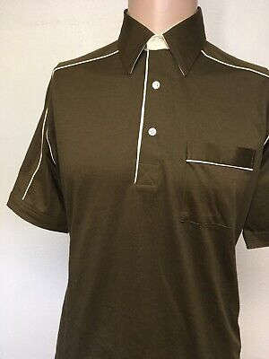 VTG 80s MORRO BAY POCKET POLO SHIRT Deep Brown NEVER WORN Cream Piping M