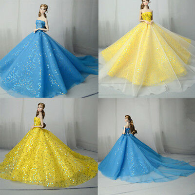 Handmade doll princess wedding dress for  1/6 dolls party gown clothing new.