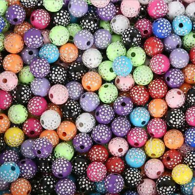 200pcs diy Colorful Acrylic Round Beads Handmade accessories bracelet 8mm