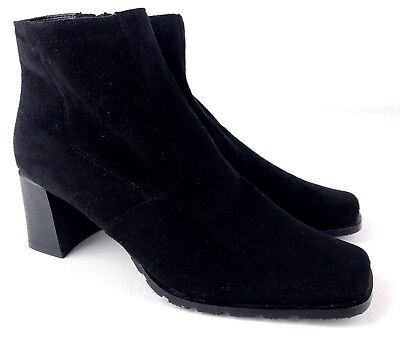 9ab568204 Markon Womens Black Ankle Boots Block Heel Square Toe Sz 7.5 Vegan Faux  Suede