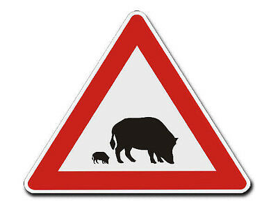 Triangular Traffic Sign with Motif Boar - S4350