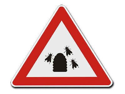 Triangular Traffic Sign with Motif Bees - S4335