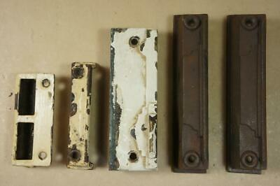 Vintage architectural 4 x cast iron & 1 x metal door lock keeps