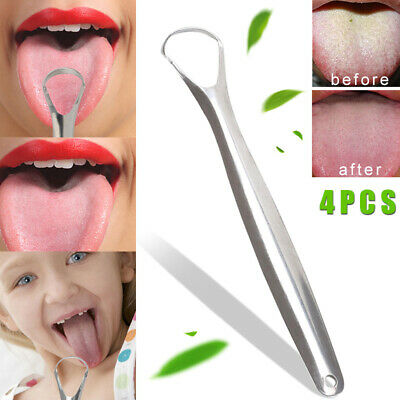 4Pcs Tongue Scraper Reusable Stainless Steel Oral Fresher Cleaner Brush for Kids
