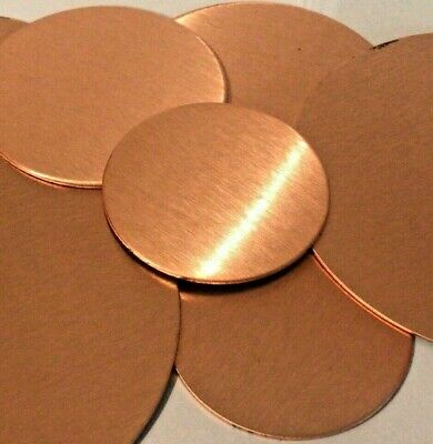 ROUND PURE Copper Metal Discs 0.9mm Solid brushed 43mm 50mm 60mm 80mm Blanks