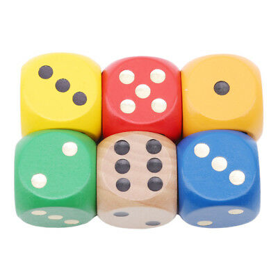 Color Point Wood Dice 3cm Entertainment Party Family Game Kid Toys Education CB