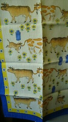 Vintage Cows and Calves Cotton Tea Towel - Ulster Weave