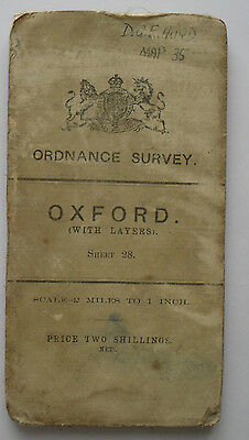 1910 old antique OS Ordnance Survey half-inch map with layers - sheet 28 Oxford