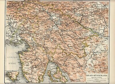 1895 Antique Lithograph Plate Print Meyers Old MAP Austrian Littoral