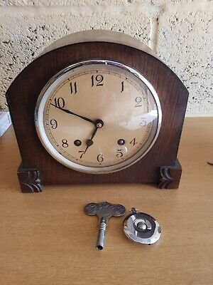 Antique Garrad 1930s Wooden Chiming Mantle Clock with Key