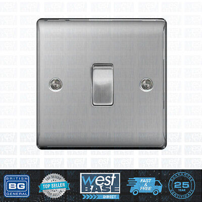 BG NEXUS METAL NBS12 Brushed Steel/Satin Chrome Single Light Switch 1 Gang 2 Way