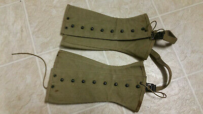 WWII WW2 Infantry US Army Canvas Legging gaiters M-1938 Size 2R 1942