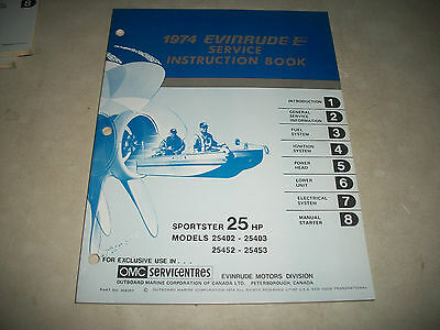 "Official 1974 Evinrude ""Sportster"" 25 Hp Outboard Service Shop Manual Clean"