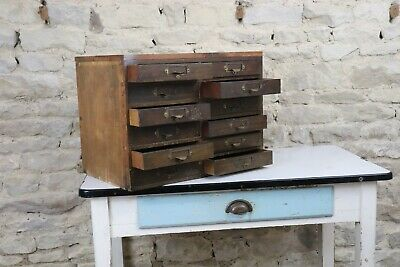 Vintage Wooden Engineers Bank Of Drawers Cabinet Old Collectors Index Drawers