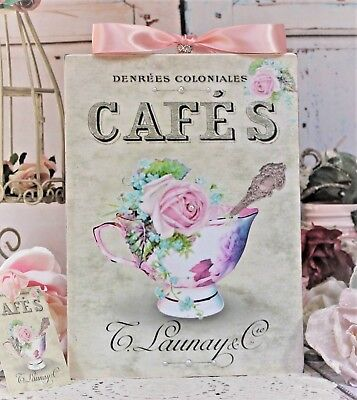 """~ Shabby Chic Vintage French Country Cottage style Wall Decor Sign """"Tea Cup"""" ~"""