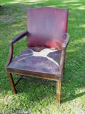 Mid Century Red Leather & Wood Arm / Office Chair Decorative Tack Trim VTG